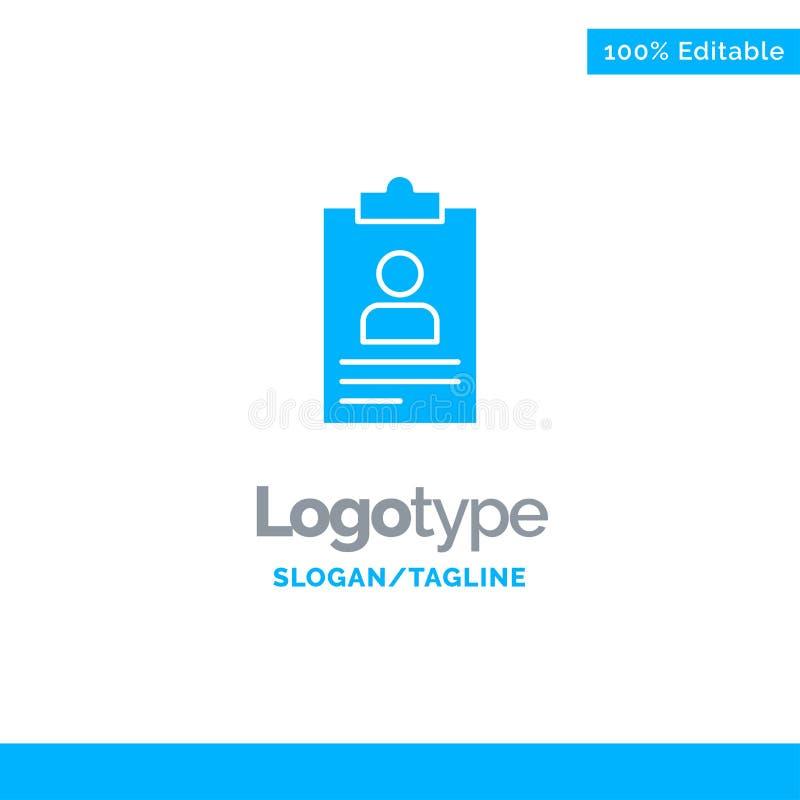 Résumé, application, presse-papiers, programme d'études, cv Logo Template solide bleu Endroit pour le Tagline illustration stock