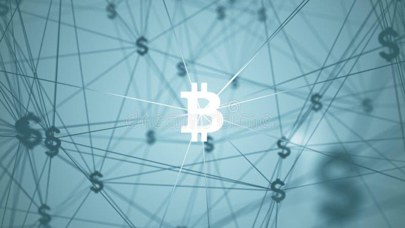 Résumé avec les icônes reliées de bitcoin photo libre de droits