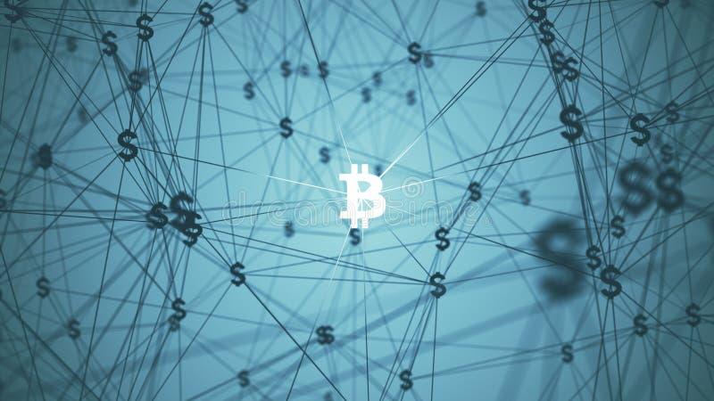 Résumé avec les icônes reliées de bitcoin images stock