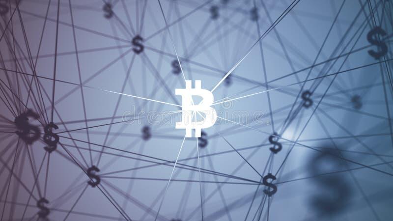 Résumé avec les icônes reliées de bitcoin photographie stock libre de droits