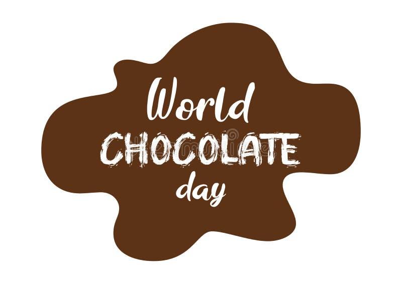 Résumé, bannière ou affiche gentille et créative pour le jour de chocolat du monde avec l'illustration gentille et créative de co illustration de vecteur
