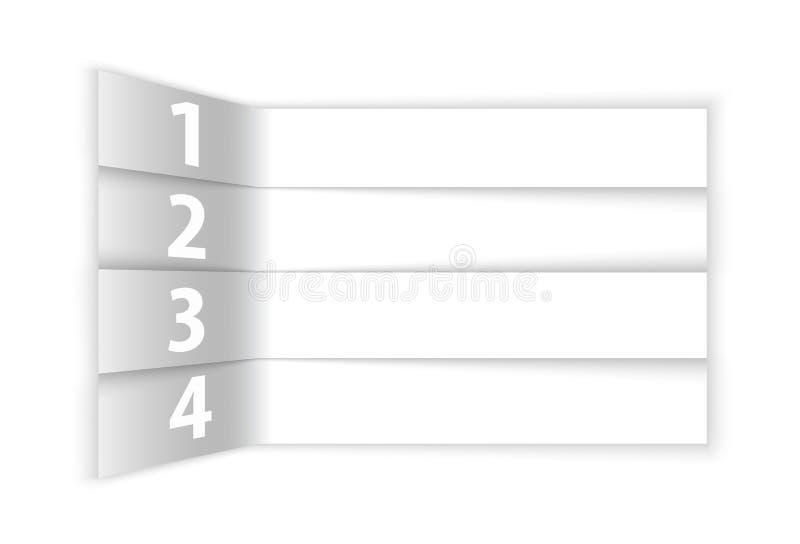 Résumé blanc numéroté rangées dans la perspective illustration stock
