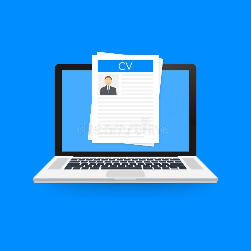 Résumé de cv Concept d'entrevue d'emploi Inscription d'un résumé Ordinateur portable avec le résumé personnel Illustration de vec illustration libre de droits