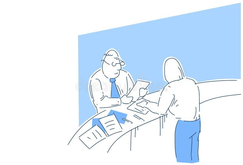 Résumé de demandeur de travail de lecture de patron vérifiant l'expérience professionnelle pendant l'entrevue dans le recruteur o illustration stock