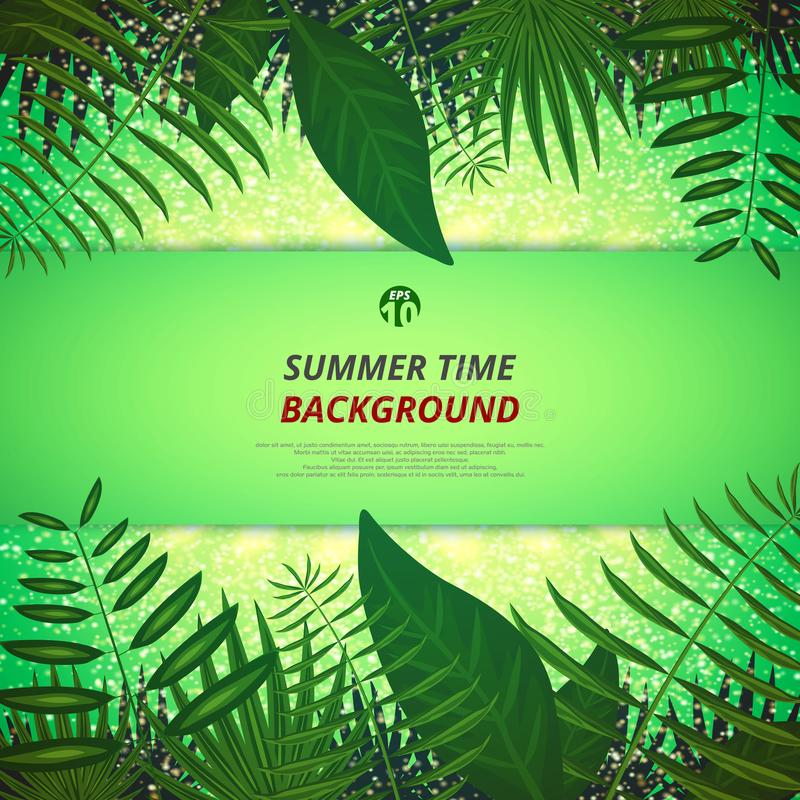 Résumé de fond d'heure d'été avec les feuilles et le fond clair d'or illustration libre de droits