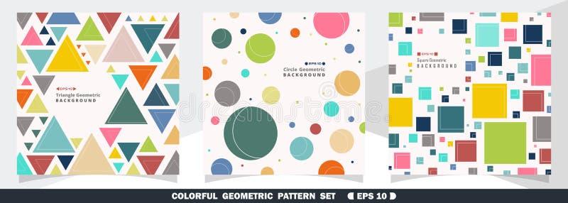 Résumé de fond géométrique coloré d'ensemble de paquet de modèle illustration libre de droits