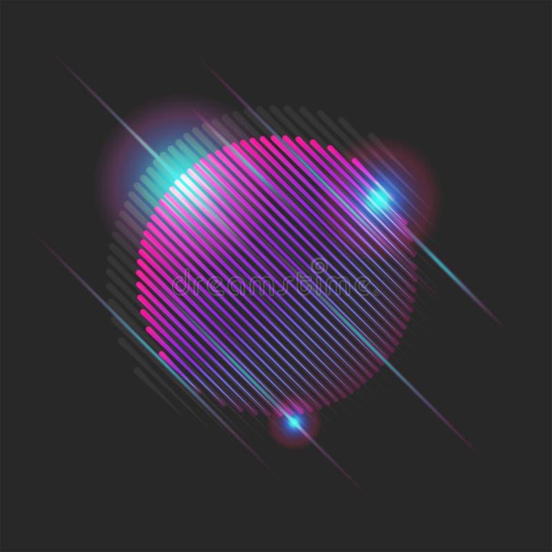 Résumé des années 80 brillantes du soleil néon avec un effet brillant, cyber-futuriste forme ronde de rayons laser avec des modul illustration libre de droits