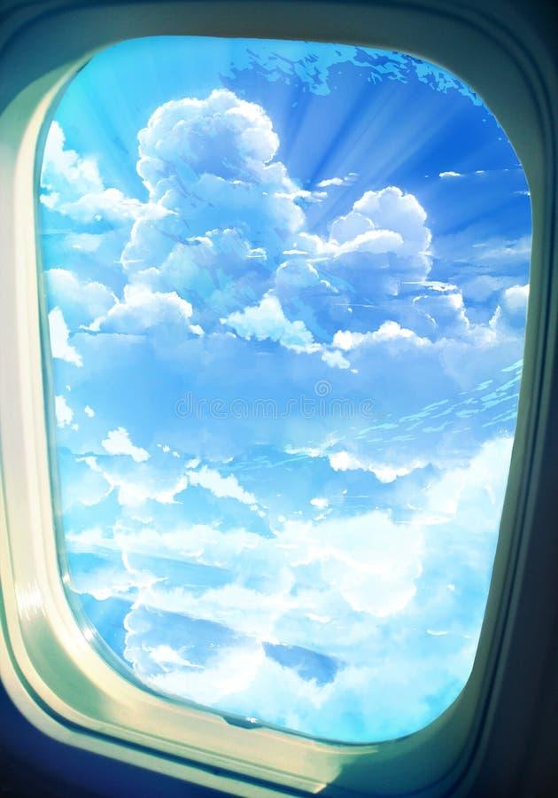 Résumé Digital artistique dessinant l'illustration de la vue de la fenêtre d'un avion d'un ciel nuageux illustration de vecteur