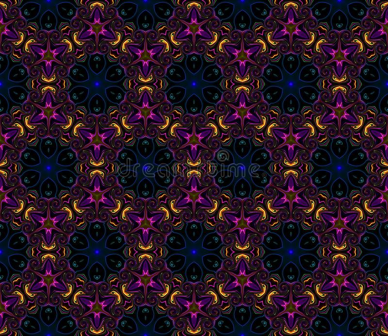 Résumé du motif symétrique kaléidoscope brillant sur un fond noir illustration stock