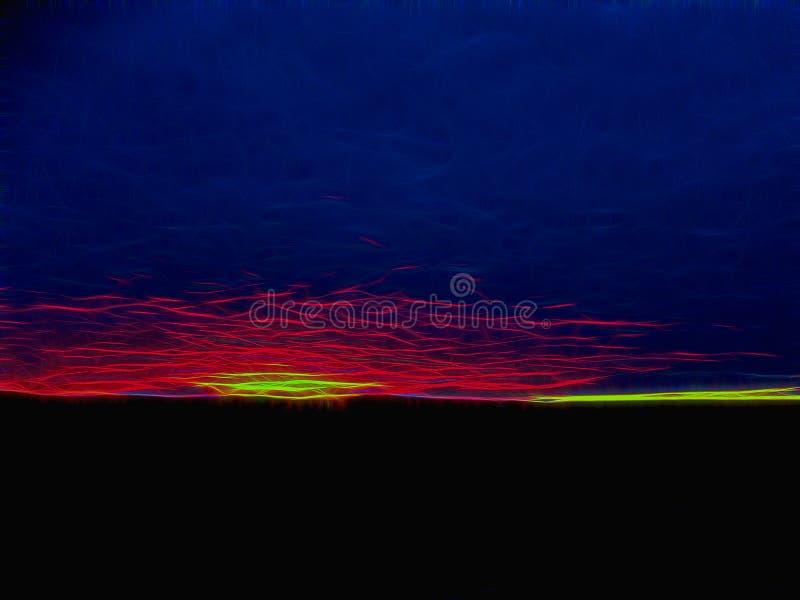 Résumé du soleil à l'horizon, en arrière-plan, éclats de lumière sur un fond sombre photographie stock