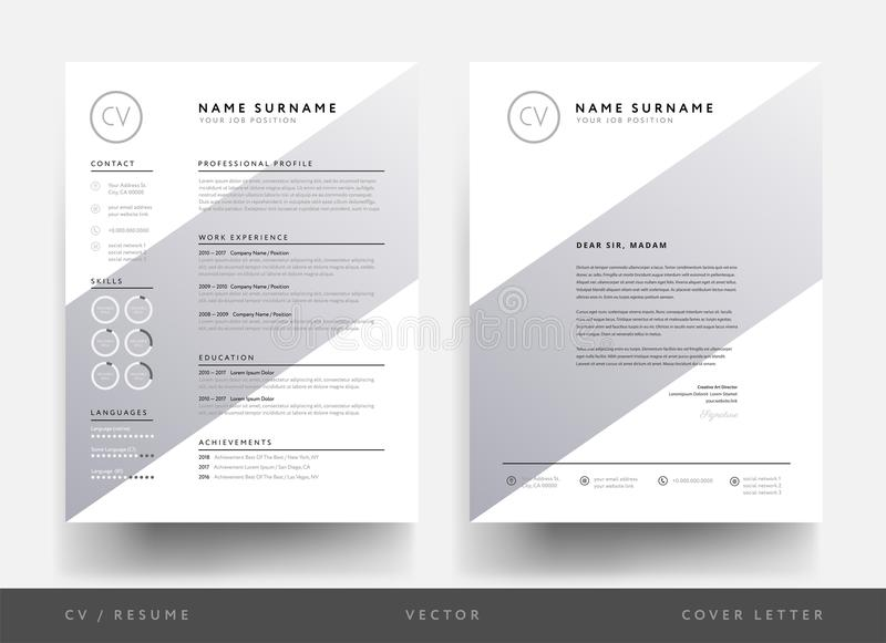 Résumé et en-tête de lettre de cv de minimaliste pour la personne créative - creati illustration de vecteur