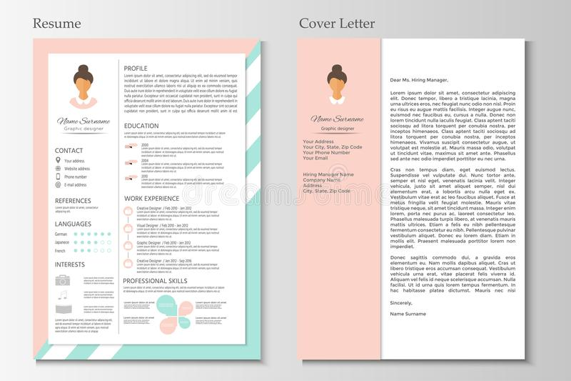 Résumé féminin avec la conception infographic Cv élégant réglé pour le wome illustration de vecteur