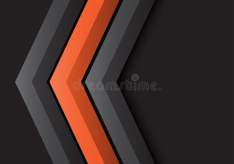 Résumé Flèche orange grise direction 3D sur conception noire vecteur futuriste moderne d'arrière-plan illustration libre de droits