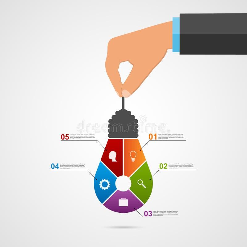 Résumé infographic avec les mains humaines tenant la bannière d'ampoule illustration de vecteur