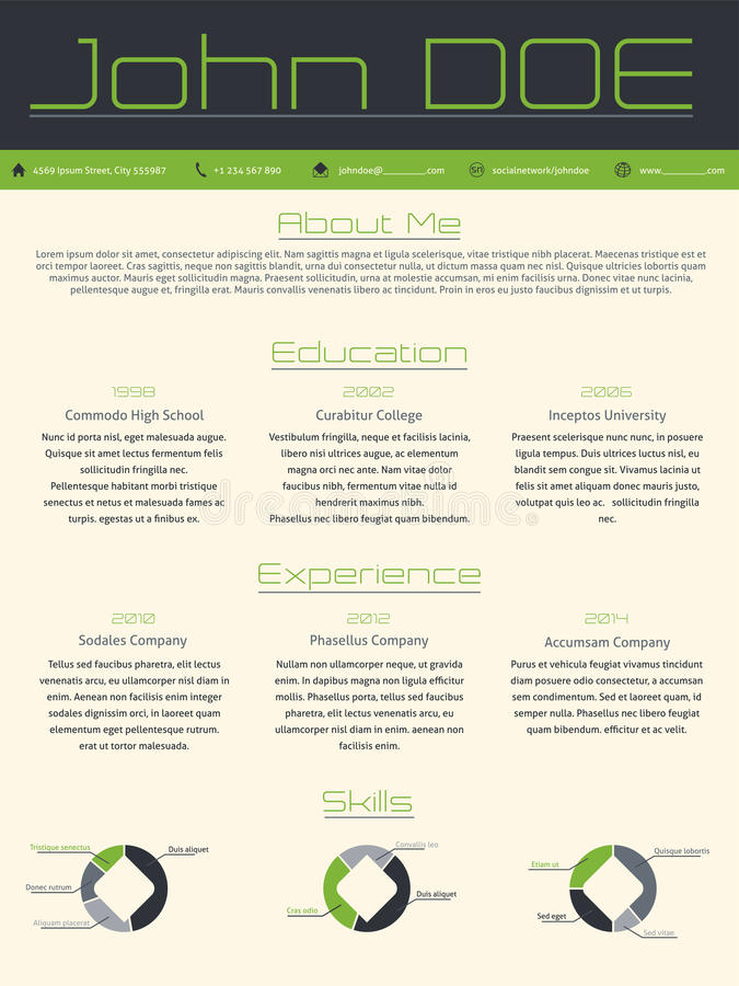 Résumé moderne de cv de curriculum vitae dans des couleurs grises vertes illustration de vecteur