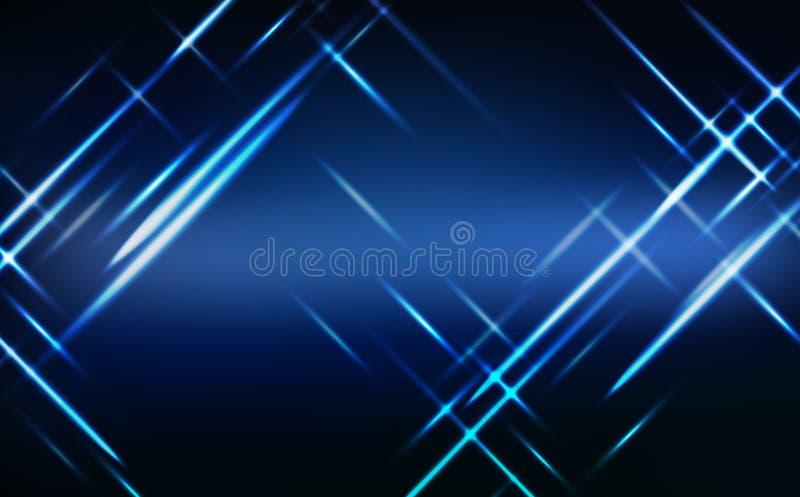 Résumé, néon bleu de technologie rougeoyant illustration de vecteur de fond d'effet de la lumière lumineux et illustration de vecteur