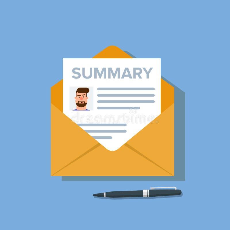Résumé réalisé avec un avatar et brève information dans l'enveloppe de courrier un document pour trouver un travail ou un employé illustration de vecteur