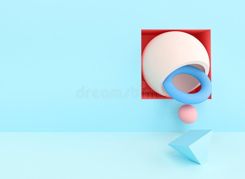 Résumé rendu d'image 3d d d'une série d'objets aux couleurs pastel illustration libre de droits