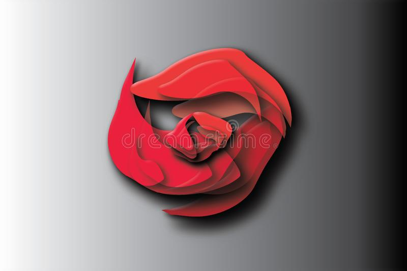 Résumé Rose Logo simple rouge illustration de vecteur