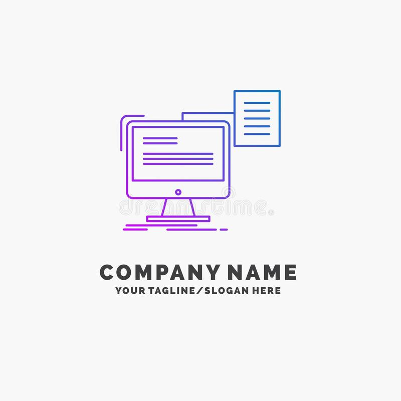 résumé, stockage, copie, cv, affaires pourpres Logo Template de document Endroit pour le Tagline illustration libre de droits