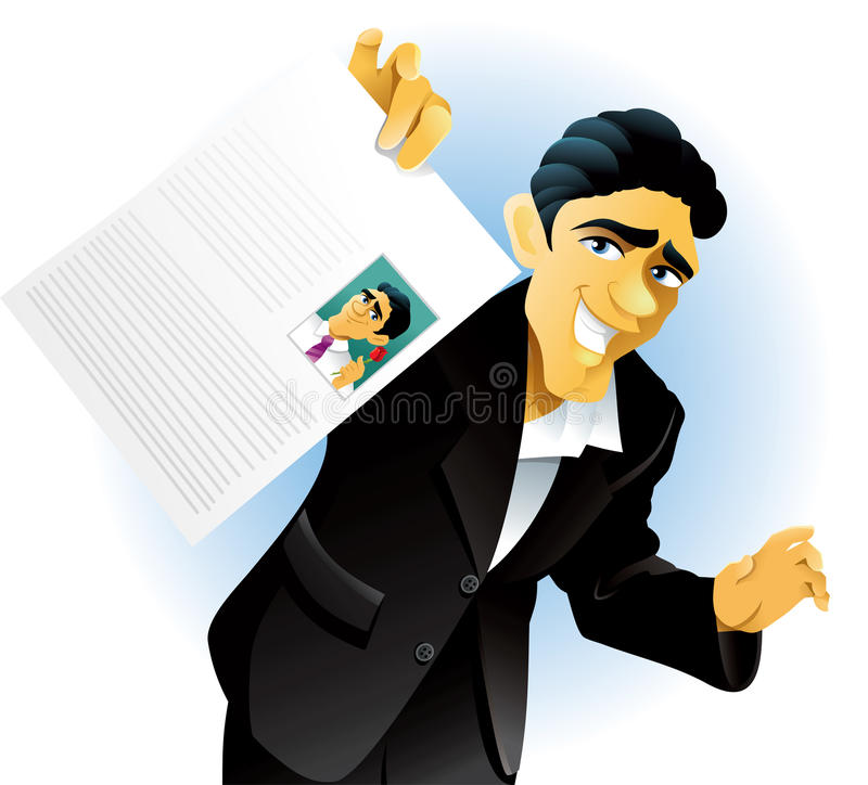 Résumé. Vector illustration of a man showing off his curriculum vitae. AI8 vector file included stock illustration