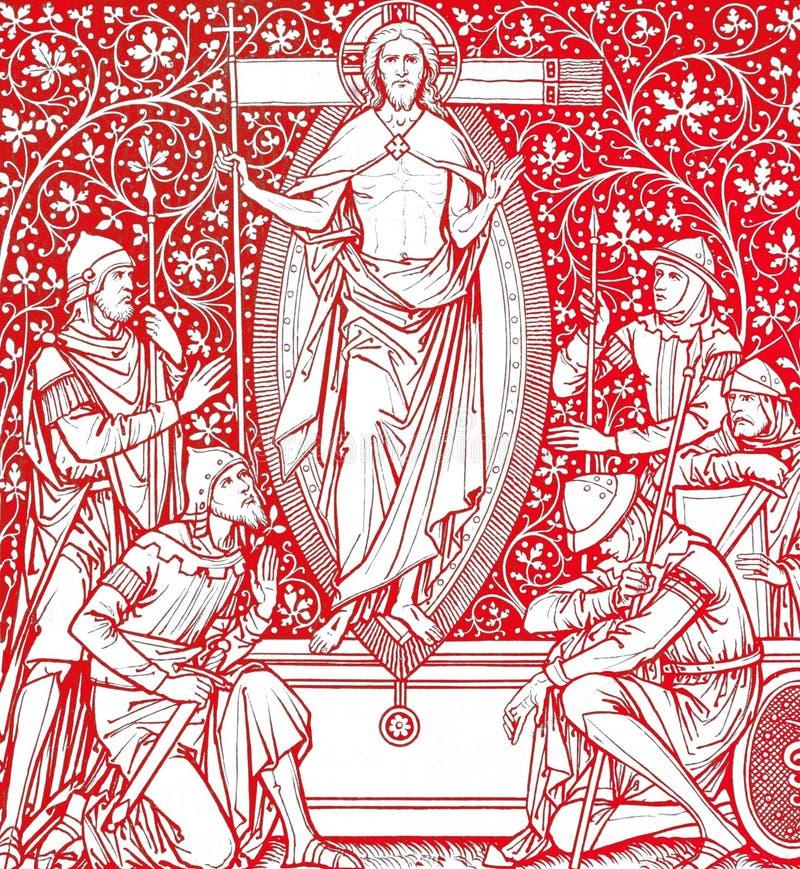 Résurrection du Christ en rouge illustration de vecteur