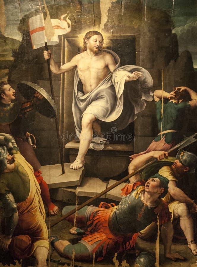 Résurrection, peignant dans la cathédrale de Sansepolcro photos libres de droits