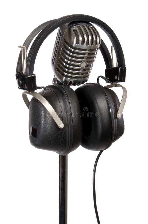 Rétro écouteurs et MIC photos libres de droits
