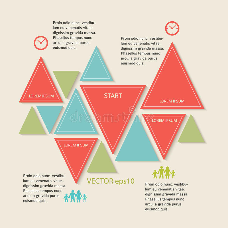 rétro élément de conception d'infographics de triangle illustration de vecteur