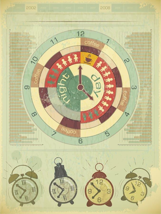 Rétro éléments d'Infographics - concept de temps de travail illustration stock