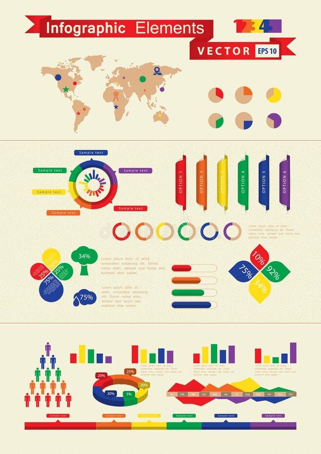 Rétro éléments infographic illustration libre de droits