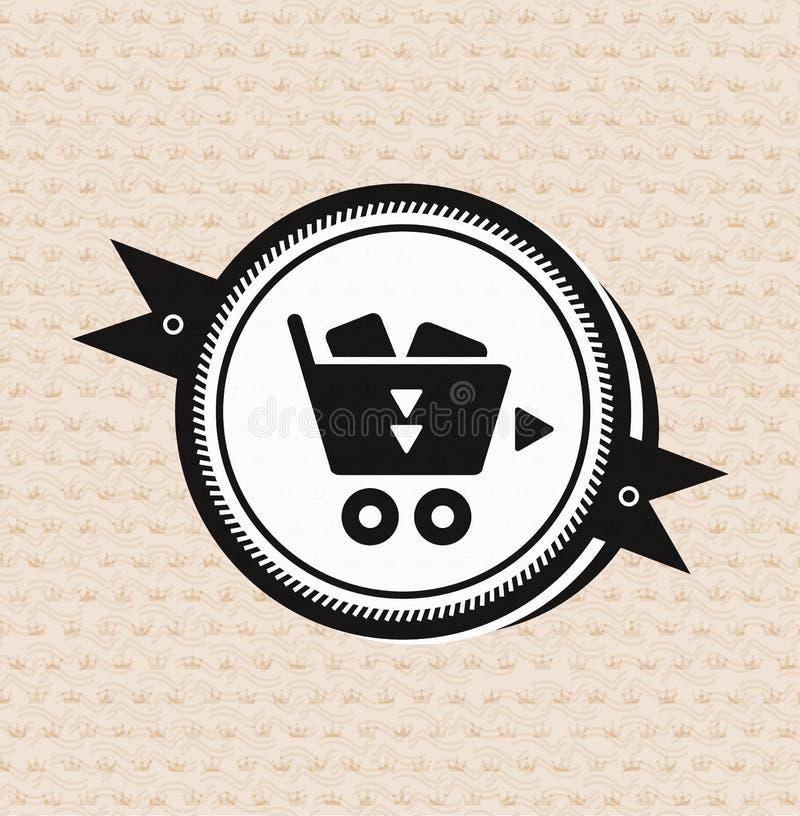 Rétro étiquette de cru : graphisme de caddie illustration stock