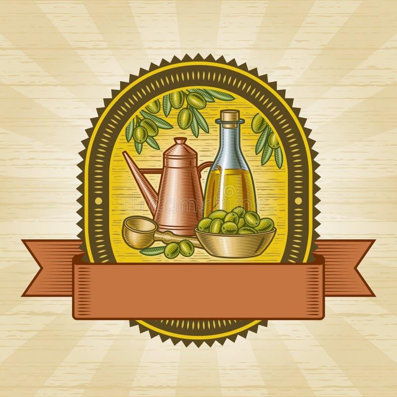Rétro étiquette olive de moisson illustration de vecteur