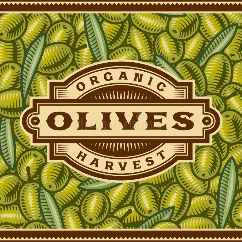Rétro étiquette olive de moisson illustration libre de droits