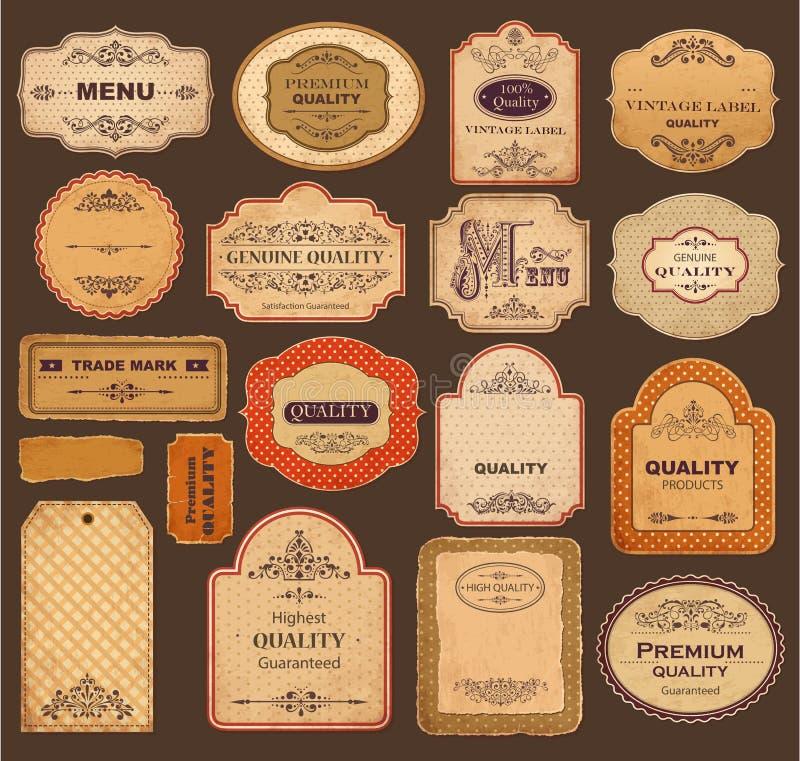 Rétro étiquettes illustration stock