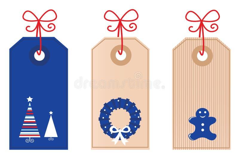 Rétro étiquettes blanc de Noël illustration stock