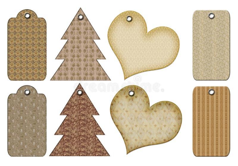 Rétro étiquettes de cadeau de différentes formes. illustration de vecteur
