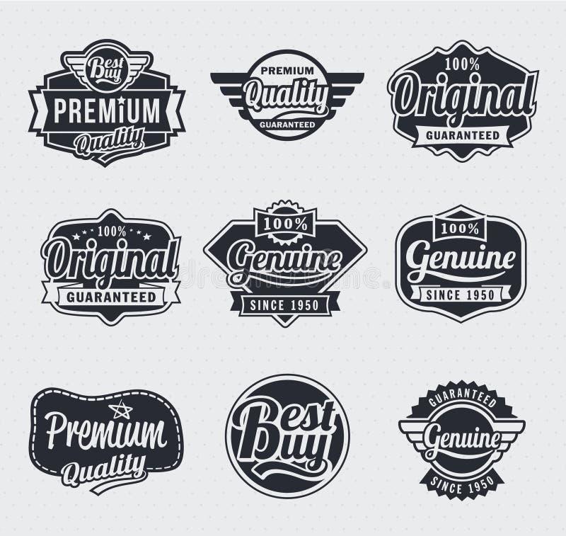 Rétro étiquettes de cru illustration stock