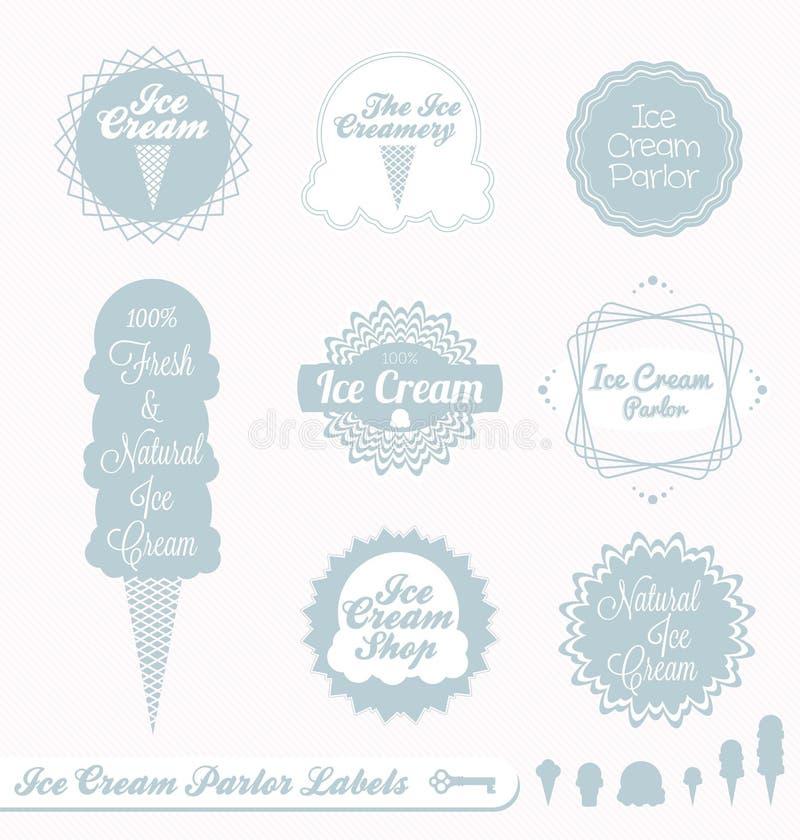 Rétro étiquettes et collants de crême glacée illustration libre de droits