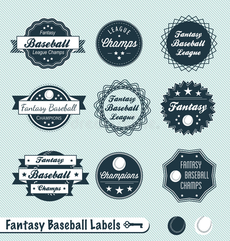 Rétro étiquettes et collants de ligue de base-ball d'imagination illustration libre de droits