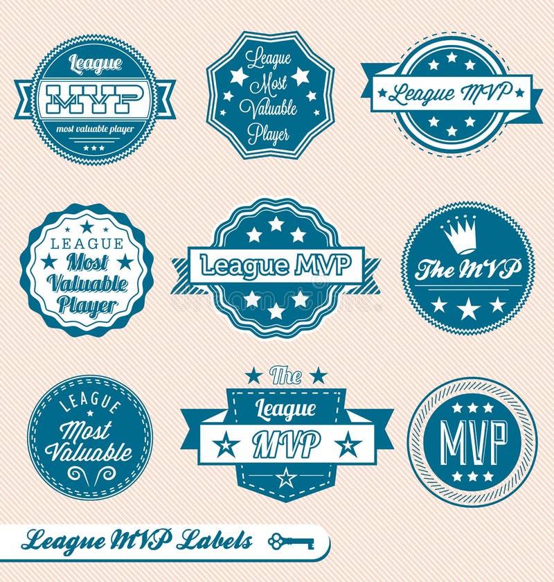 Rétro étiquettes et collants de MVP de ligue illustration de vecteur