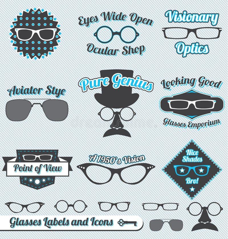 Rétro étiquettes et collants en verre illustration stock