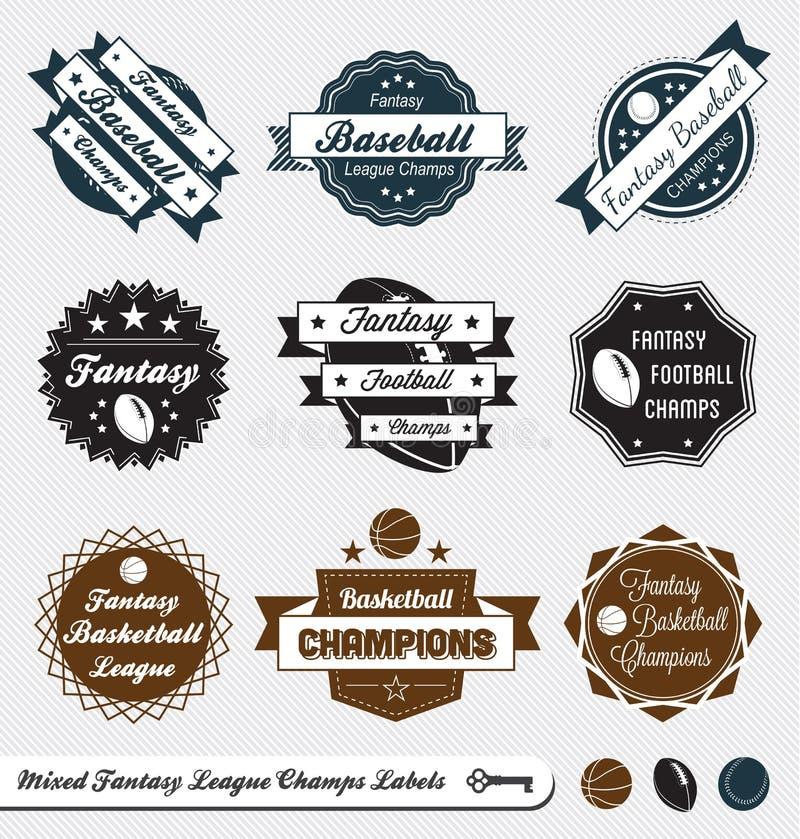Rétro étiquettes et collants mélangés de ligue d'imagination illustration de vecteur