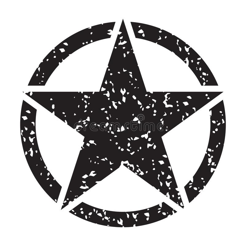 Rétro étoile noire grunge de cru en cercle sur le fond blanc, illustration de vecteur illustration stock