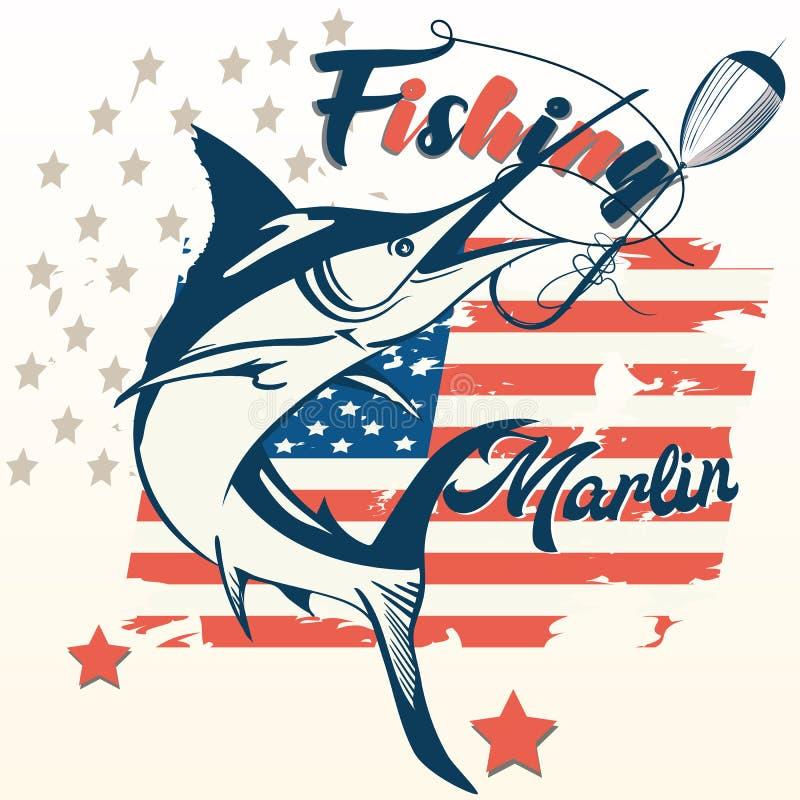 Rétro affiche dénommée des Etats-Unis avec des poissons de marlin, drapeau américain illustration de vecteur