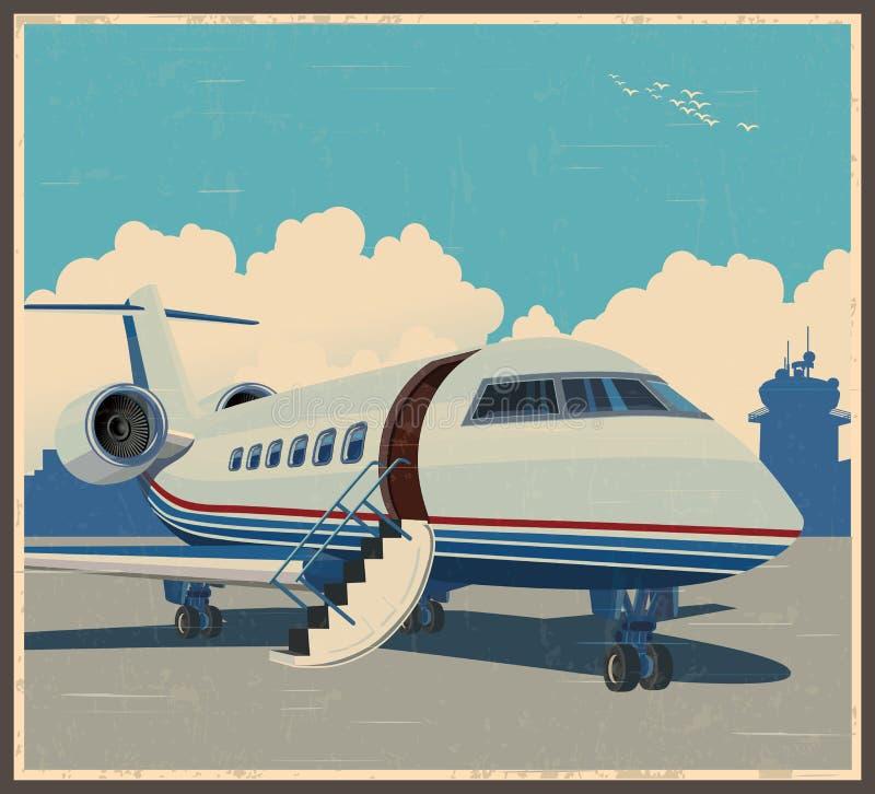 Rétro affiche d'aviation privée illustration de vecteur