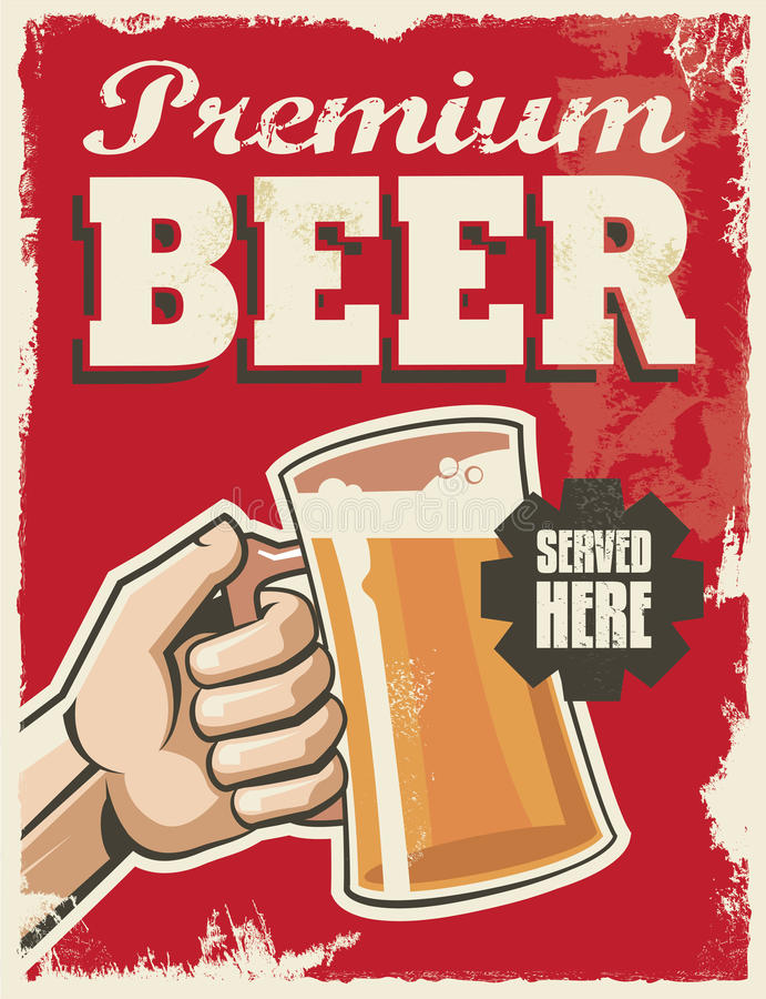Rétro affiche de bière de vintage illustration stock