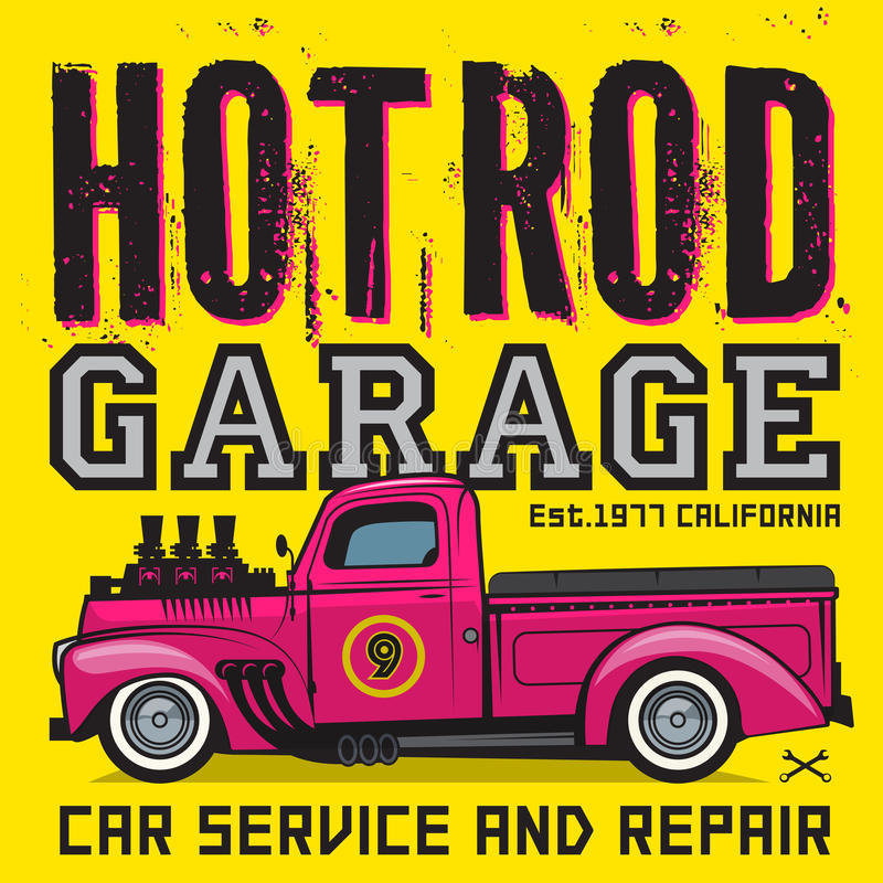 Rétro affiche de camion pick-up avec le texte Rod Garage chaud illustration libre de droits