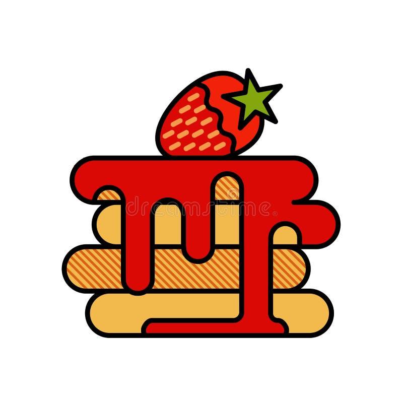 Rétro affiche de crêpe dans le style de vintage, vecteur illustration stock