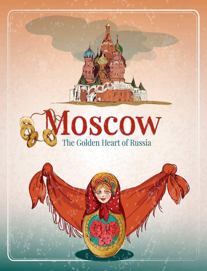 Rétro affiche de Moscou illustration stock